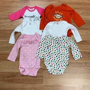 Baby Girl 12 Months Long Sleeve Bodysuits Lot
